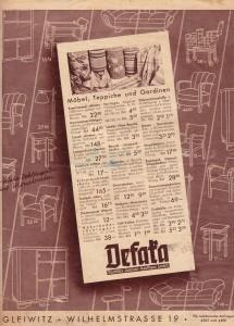 Ostatnia strona druku reklamowego z gliwickim adresem firmy DEFAKA. Wiosna 1933 r.