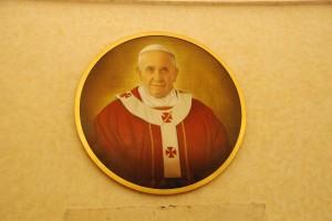 Malarska wersja portretu Franciszka I(Pierwowzór dla mozaiki umieszczonej wBazylice św.Pawła zaMurami, gdzie tradycyjnie są umieszczane medaliony następców św.Piotra)