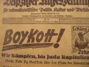 Leipziger Tageszeitung  z 1-2 kwietnia 1933 r. informujący o bojkocie 1 kwietnia
