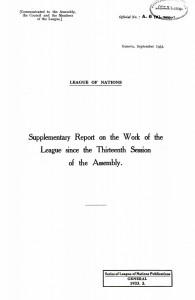 Okładka raportu Ligi Narodów  z 1933 r., zawierający informację na temat Petycji Bernheima