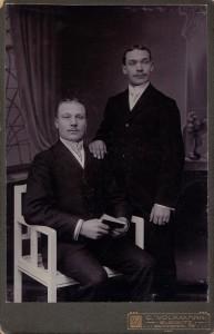Panowie dwaj. Pocz. XX wieku. Atelier C. Volkmann. Gleiwitz/Gliwice