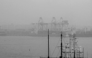 Aslept? Early morning view of the Tokyo Harbour with the cranes being lowered / Uśpione żurawie portowe o poranku. Port w Tokio