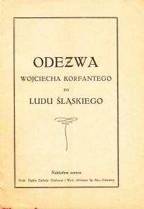 Strona tytułowa 'Odezwy Wojciecha Korfantego...', Katowice (1927)