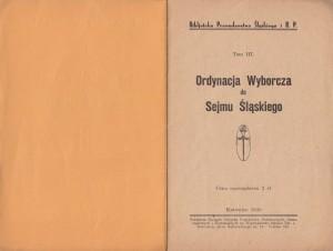 Ordynacja doSejmu Śląskiego, Katowice 1930 (wł. Leszek Jodliński)
