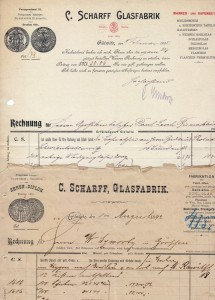 Rachunki firmy Scharff Glasfabrik zlat 1892 i1905; Wrocławska firma miała swój oddział także wGliwicach. (wł.L. Jodliński)