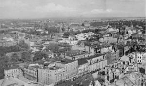 Gliwice. Lata 40-te/50-te. Widoczny plac ponieistniejącej synagodze. (Fot.J. Walla)