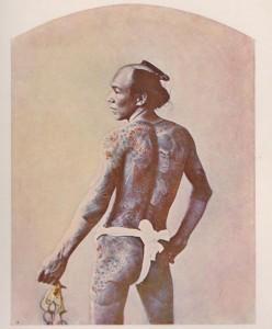 Wytatułowany Japończyk. Zdjęcie z epoki (reprodukcja) / Japanese man with tatoos. Photo from the epoch