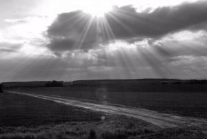 Światło (wersja czarno-biała; okolice Rohova)