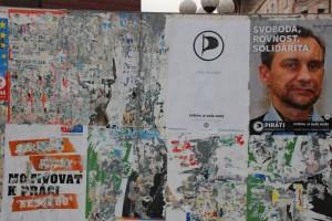 Volby (Wybory) [Opawa; punkt plakatowania pozakończeniu wyborów doEuroparlamentu wmaju 2014 roku]