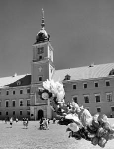 Balonidła zzamkiem wtle (Warszawa, Stare Miasto)
