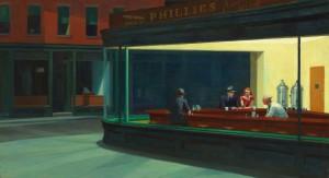 Nighthawks (Nocne marki/jastrzębie), Edward Hopper (1942) źródło: Cultural Insitute, Google