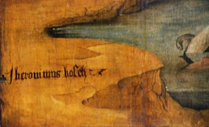 Znak mistrza / Sign of the master (Muzeum Sztuk Pięknych w Brukseli, fragment tryptyku Kalwaria i postacią donatora)