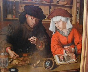 Bankier z żoną / Banker and his wife (Q. Metsys; XVI c.; Royal Museum of Fine Arts, Brussels, Belgium)