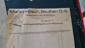 Papier firmowy składu Martina Hirscha (wszelkie prawa zastrzeżone; repr. L. Jodliński, archiwum rodziny Hirsch)