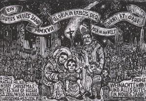 Boże Narodzenie 2016. Grafika Rudolfa Riedla (repr. L. Jodliński)
